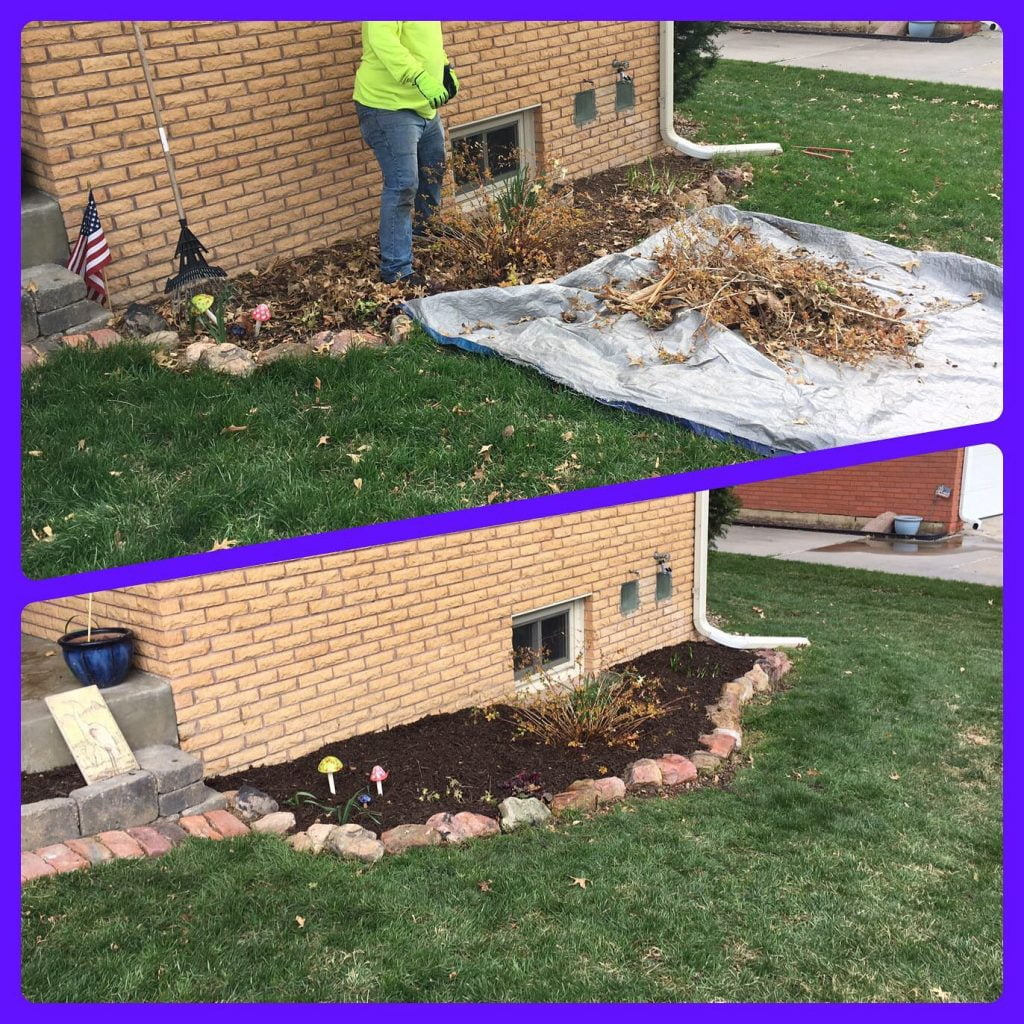 Before and after cleaning landscaping beds