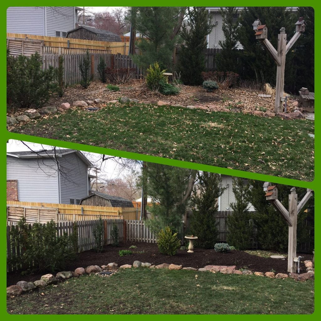 before & after mulch bed cleaning