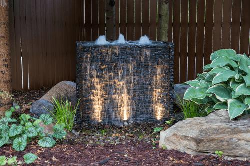 Outdoor decorative fountain with lights Omaha Nebraska