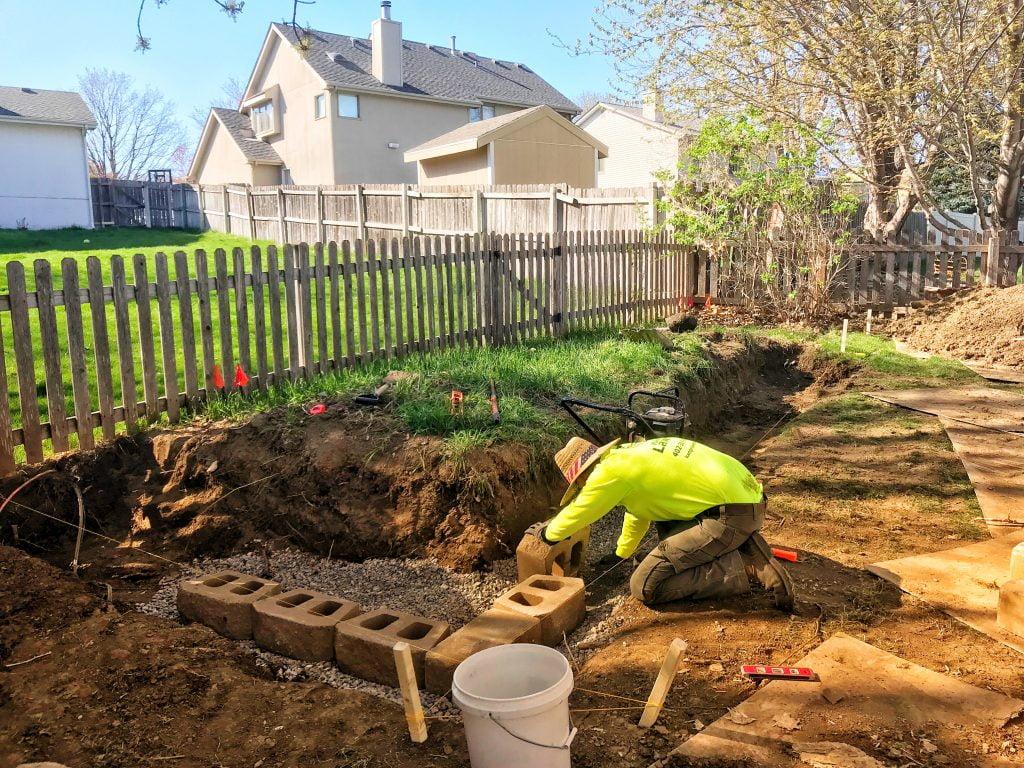 Kanger Lawns building retaining wall