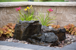 Pagoda fountain rocks water feature Omaha Nebraska
