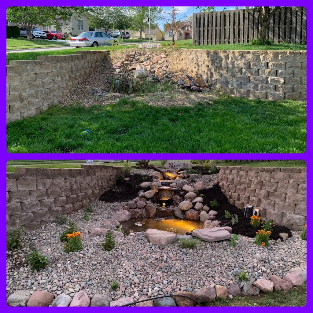 Backyard retaining walls Papillion Nebraska
