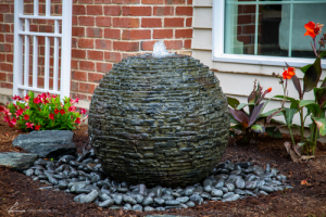 Stacked slate sphere fountain