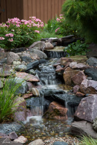 Waterfall and stream in landscaping Omaha Nebraska